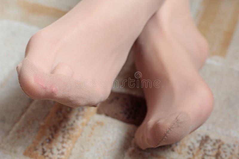 Όμορφα θηλυκά πόδια με τις διαφανείς λεπτές κάλτσες στοκ φωτογραφίες με δικαίωμα ελεύθερης χρήσης