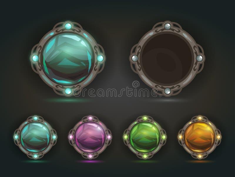 Όμορφα διανυσματικά μαγικά λαμπρά στρογγυλά κουμπιά διανυσματική απεικόνιση