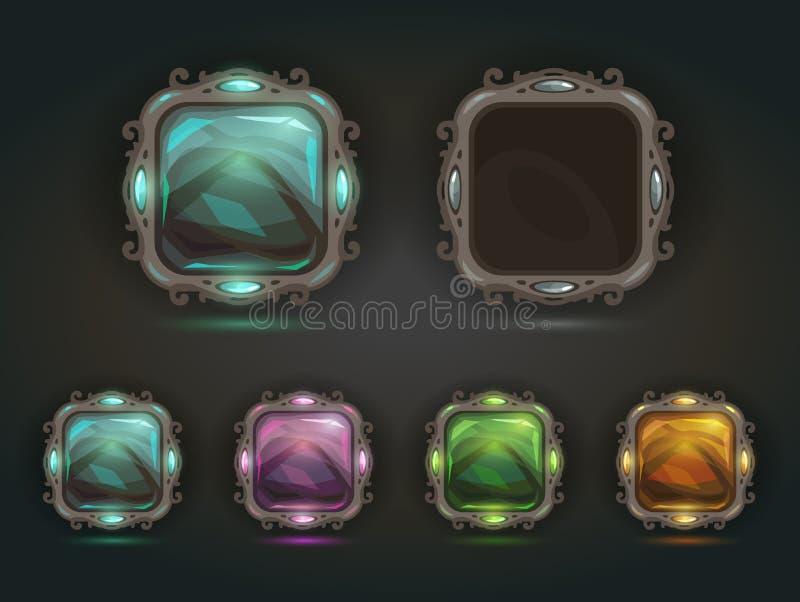 Όμορφα διανυσματικά μαγικά λαμπρά τετραγωνικά κουμπιά απεικόνιση αποθεμάτων