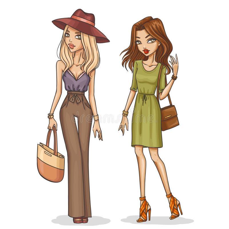 Όμορφα και μοντέρνα κορίτσια μόδας απεικόνιση αποθεμάτων