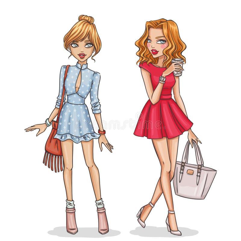 Όμορφα και μοντέρνα κορίτσια μόδας ελεύθερη απεικόνιση δικαιώματος