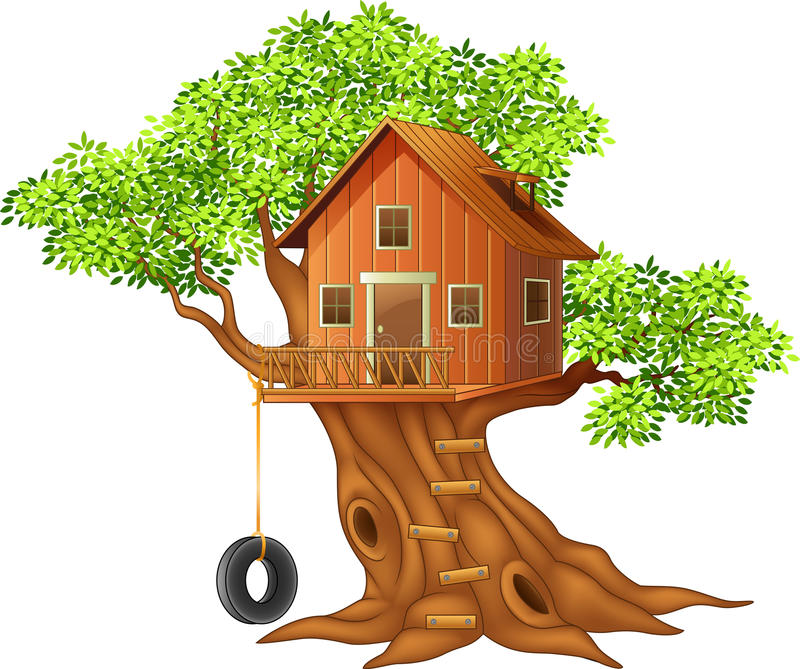 Όμορφα κινούμενα σχέδια σπιτιών δέντρων ελεύθερη απεικόνιση δικαιώματος