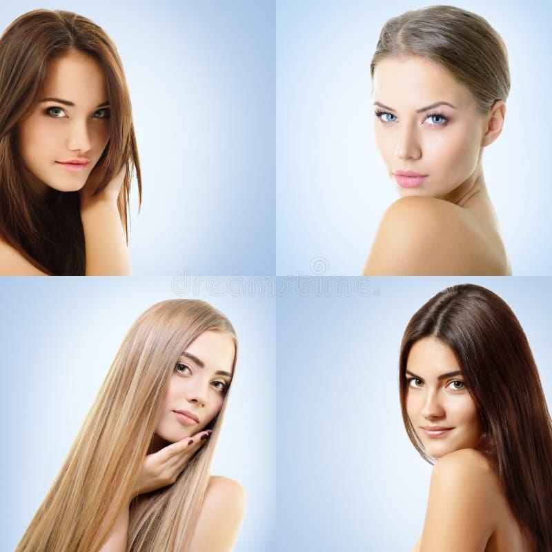 Όμορφα κορίτσια, κινηματογράφηση σε πρώτο πλάνο προσώπων Ομορφιά, επεξεργασία ομορφιάς, cosmetology έννοια στοκ φωτογραφία