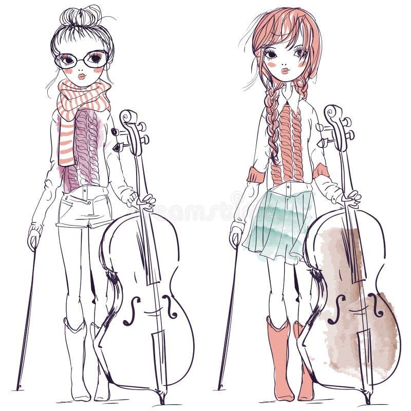 Όμορφα κορίτσια με το βιολοντσέλο διανυσματική απεικόνιση
