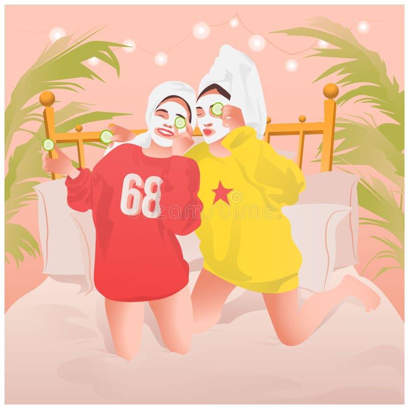 Όμορφα κορίτσια που γελούν και που κάνουν την επεξεργασία SPA και την του προσώπου μάσκα στο σπίτι διανυσματική απεικόνιση