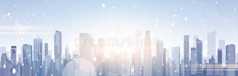 Όμορφα κτήρια ουρανοξυστών τοπίων χειμερινών πόλεων στη Χαρούμενα Χριστούγεννα χιονιού και το υπόβαθρο καλής χρονιάς διανυσματική απεικόνιση