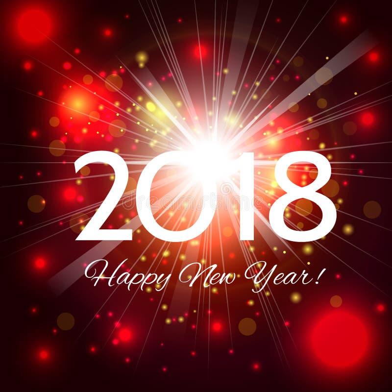 Όμορφα κόκκινα πυροτεχνήματα με τους χαιρετισμούς καλή χρονιά 2018! διανυσματική απεικόνιση