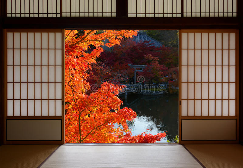 Όμορφα κόκκινα φύλλα σφενδάμου πτώσης που πλαισιώνονται από την παραδοσιακή ιαπωνική πόρτα δωματίων στοκ εικόνες