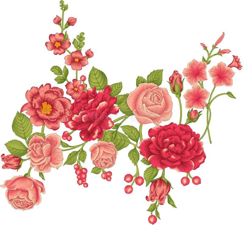 Όμορφα λουλούδια στο άσπρο υπόβαθρο Σύγχρονο floral σχέδιο διανυσματική απεικόνιση