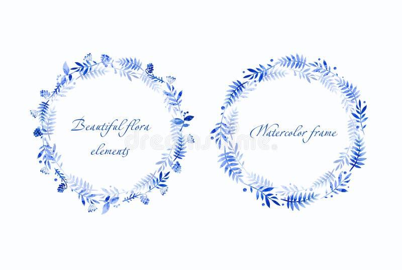 Όμορφα μπλε στρογγυλά πλαίσια του μυρτίλλου και των φύλλων διανυσματική απεικόνιση