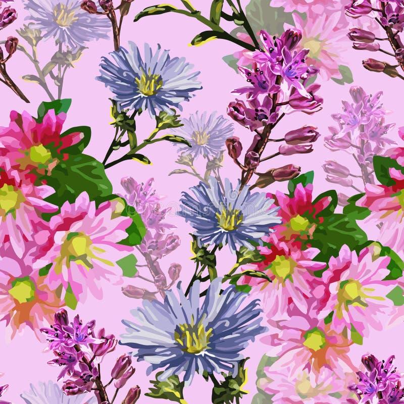 όμορφα λουλούδια φθινοπώρου διανυσματική απεικόνιση