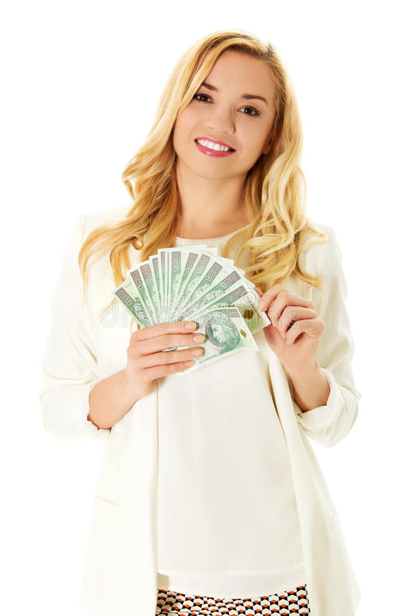 Όμορφα περιστασιακά χρήματα εκμετάλλευσης γυναικών στοκ εικόνα με δικαίωμα ελεύθερης χρήσης