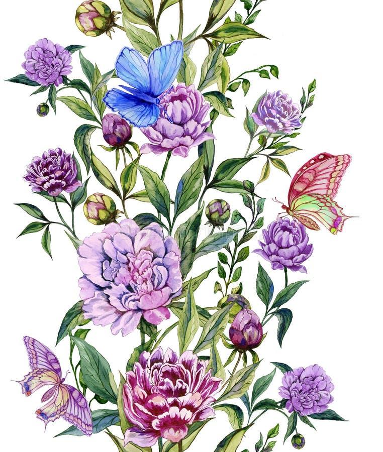 Όμορφα πορφυρά peony λουλούδια μίσχοι με τα πράσινα φύλλα και τις φωτεινές πεταλούδες που κάθονται σε τους floral πρότυπο άνευ ρα ελεύθερη απεικόνιση δικαιώματος