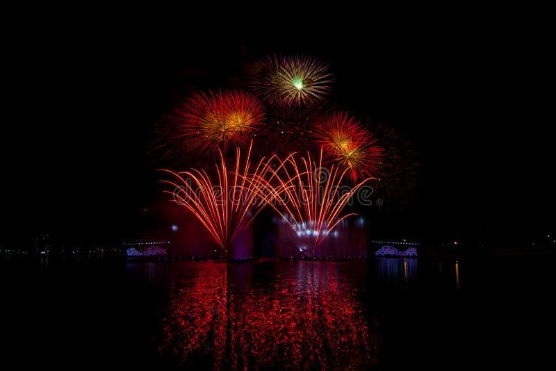 Όμορφα πυροτεχνήματα στο νυχτερινό ουρανό στοκ εικόνες