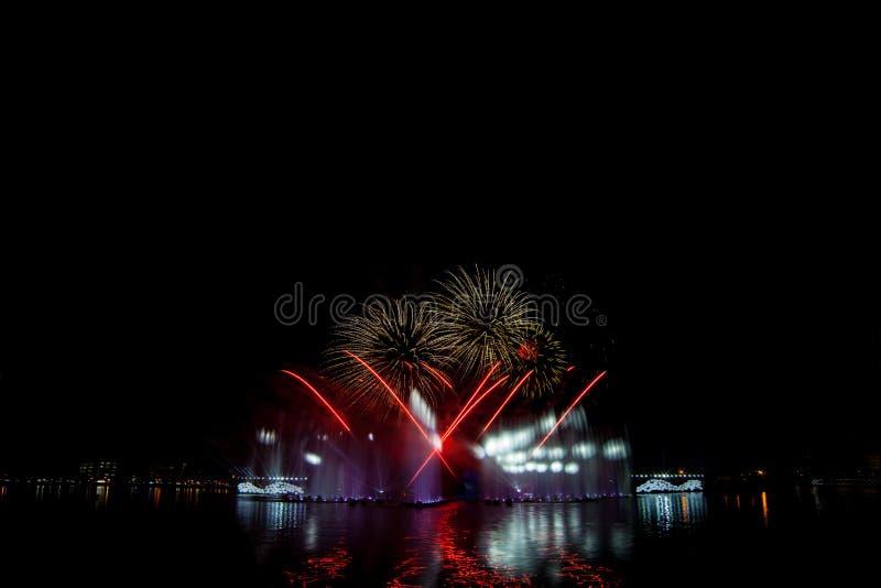 Όμορφα πυροτεχνήματα στο νυχτερινό ουρανό στοκ εικόνα με δικαίωμα ελεύθερης χρήσης