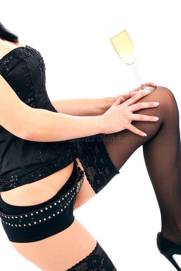 όμορφα πόδια γυαλιού σαμπά& Στοκ φωτογραφίες με δικαίωμα ελεύθερης χρήσης