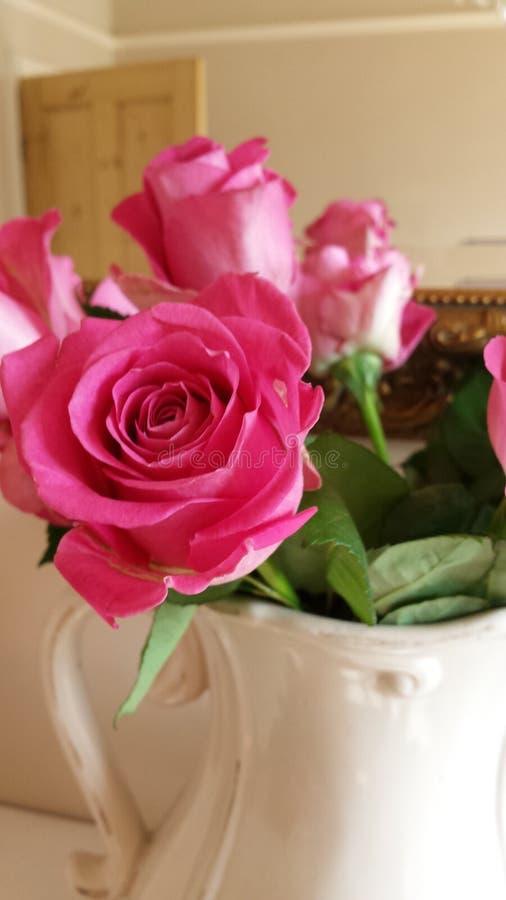 Όμορφα ρόδινα τριαντάφυλλα σε μια κανάτα κρέμας στοκ εικόνες