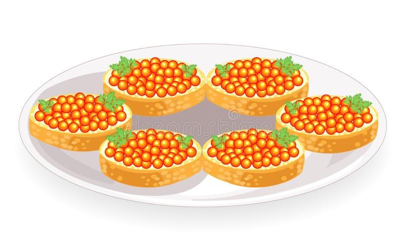 Όμορφα σάντουιτς Άσπρο ψωμί με το βουτύρου και κόκκινο χαβιάρι Νόστιμο και υγιές προϊόν Εορταστική επιτραπέζια διακόσμηση r διανυσματική απεικόνιση