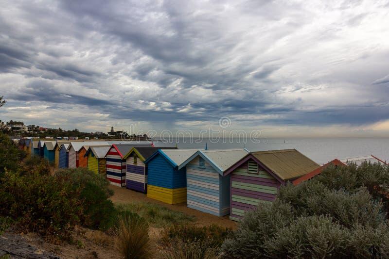 Όμορφα σπίτια λουσίματος στην παραλία του Μπράιτον στη Μελβούρνη, στοκ φωτογραφίες με δικαίωμα ελεύθερης χρήσης