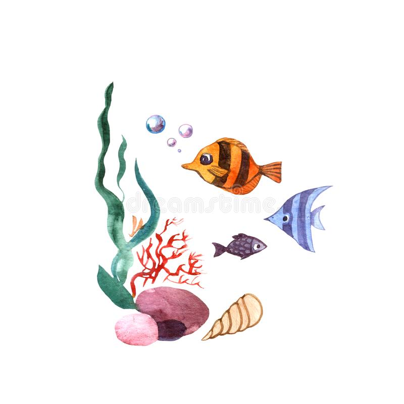 Όμορφα συρμένα χέρι φύκι και ψάρια απεικόνισης διανυσματική απεικόνιση
