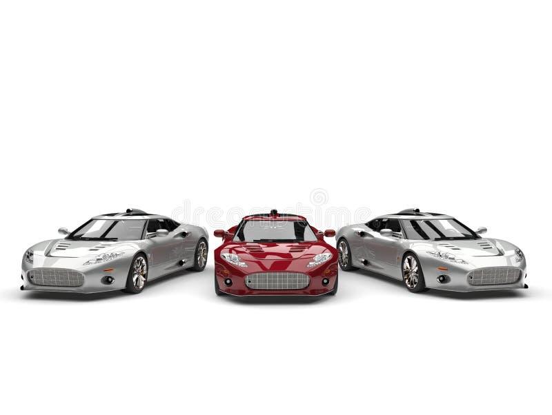 Όμορφα σύγχρονα ασημένια και κόκκινα έξοχα αθλητικά αυτοκίνητα απεικόνιση αποθεμάτων