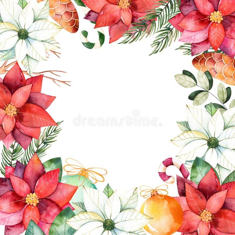 Όμορφα σύνορα πλαισίων watercolor με τα φύλλα, κλάδοι, fir-tree, σφαίρες Χριστουγέννων ελεύθερη απεικόνιση δικαιώματος