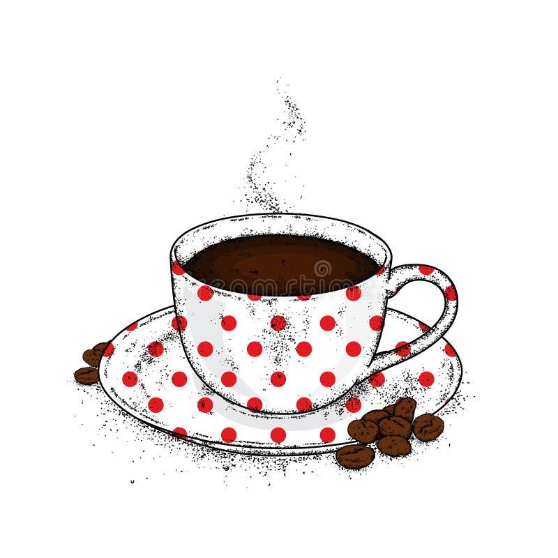 Όμορφα φλυτζάνι και πιατάκι Καφές σε ένα φλυτζάνι και τα φασόλια καφέ επίσης corel σύρετε το διάνυσμα απεικόνισης απεικόνιση αποθεμάτων