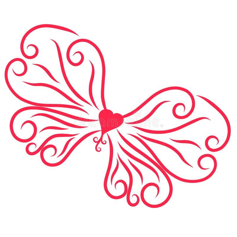 Όμορφα φτερά με τις μπούκλες με μια καρδιά διανυσματική απεικόνιση
