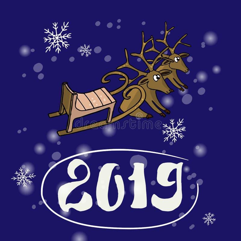 όμορφα Χριστούγεννα καρτώ&nu greeting new year Εύθυμο έλκηθρο Santa ελαφιών και Χριστουγέννων σε ένα μπλε υπόβαθρο διάνυσμα διανυσματική απεικόνιση