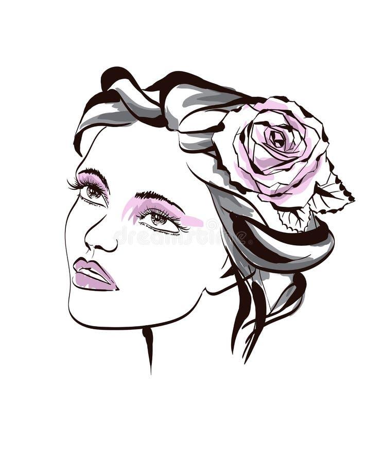 Όμορφες γυναίκες μόδας με το αφηρημένο ζωηρόχρωμο λουλούδι Συρμένη χέρι διανυσματική απεικόνιση μόδας Θηλυκό πορτρέτο της floral  απεικόνιση αποθεμάτων