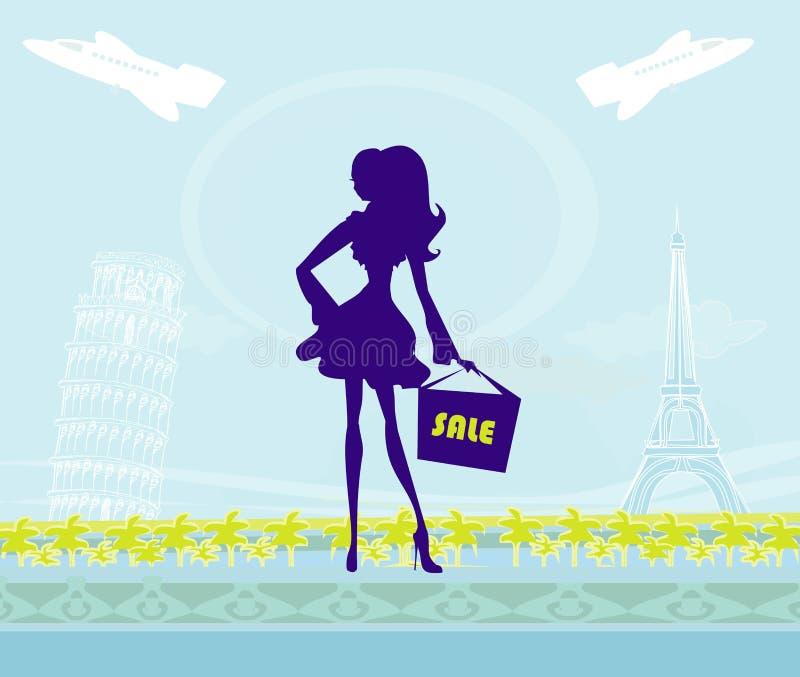 Όμορφες γυναίκες που ψωνίζουν στη Γαλλία και την Ιταλία απεικόνιση αποθεμάτων