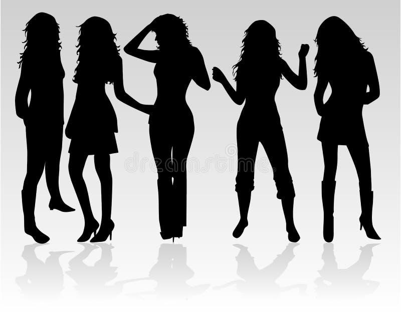 όμορφες γυναίκες χορού διανυσματική απεικόνιση