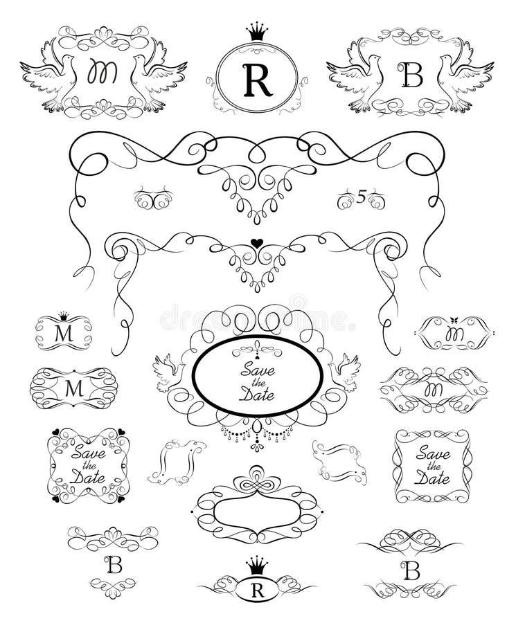 Όμορφες εκλεκτής ποιότητας floral πλαίσια, αψίδα, επιγραφές και συλλογή σύντομων χρονογραφημάτων για τη γαμήλια πρόσκληση, τελετή απεικόνιση αποθεμάτων