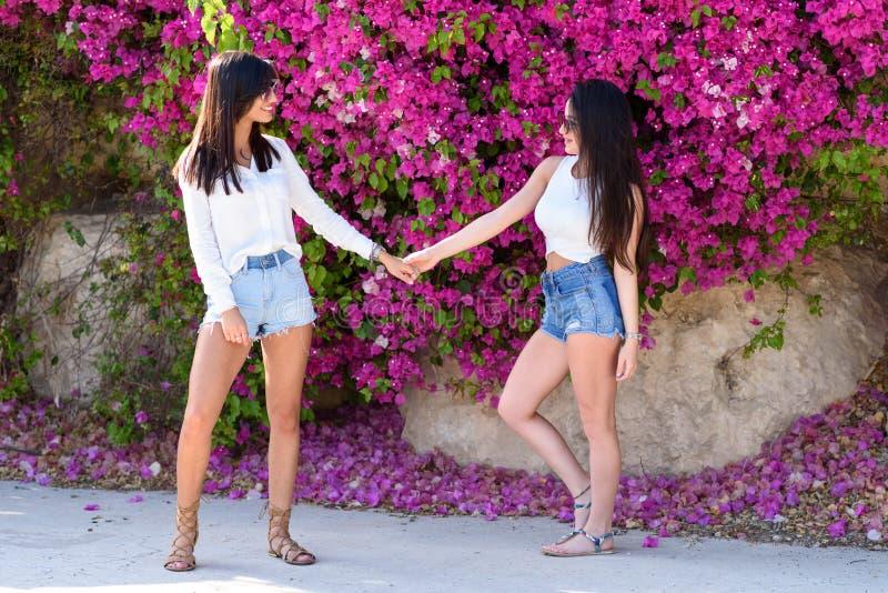 Όμορφες ευτυχείς νέες γυναίκες που κρατούν τα χέρια στο ζωηρόχρωμο φυσικό υπόβαθρο των φωτεινών ρόδινων λουλουδιών στοκ εικόνες