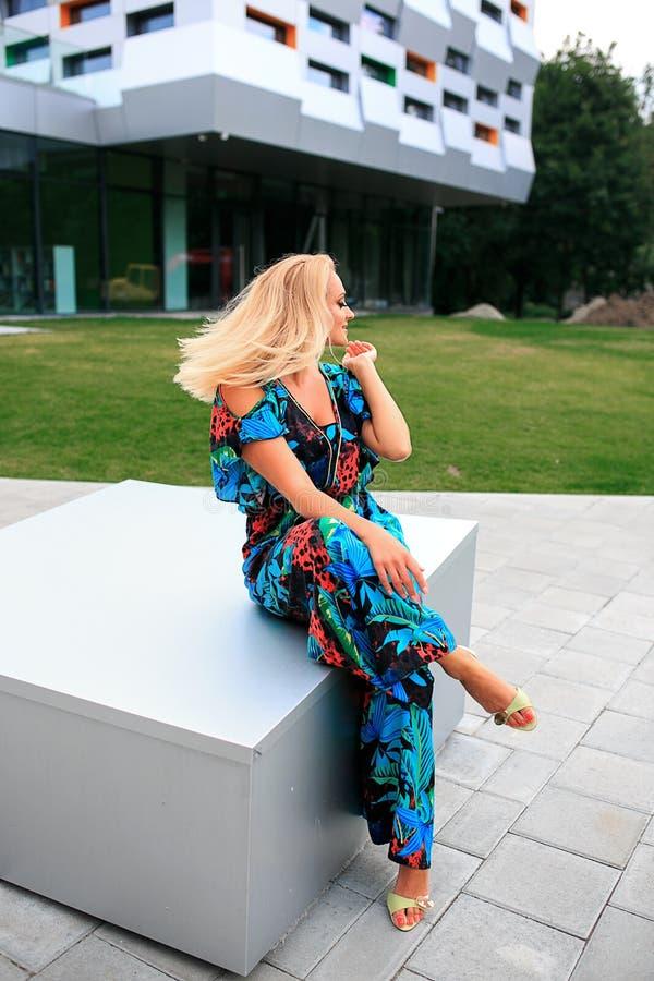 όμορφες θέτοντας νεολαί&ep Μοντέρνο μπλε θερινό φόρεμα, φωτεινό makeup, μαύρισμα στοκ φωτογραφία με δικαίωμα ελεύθερης χρήσης