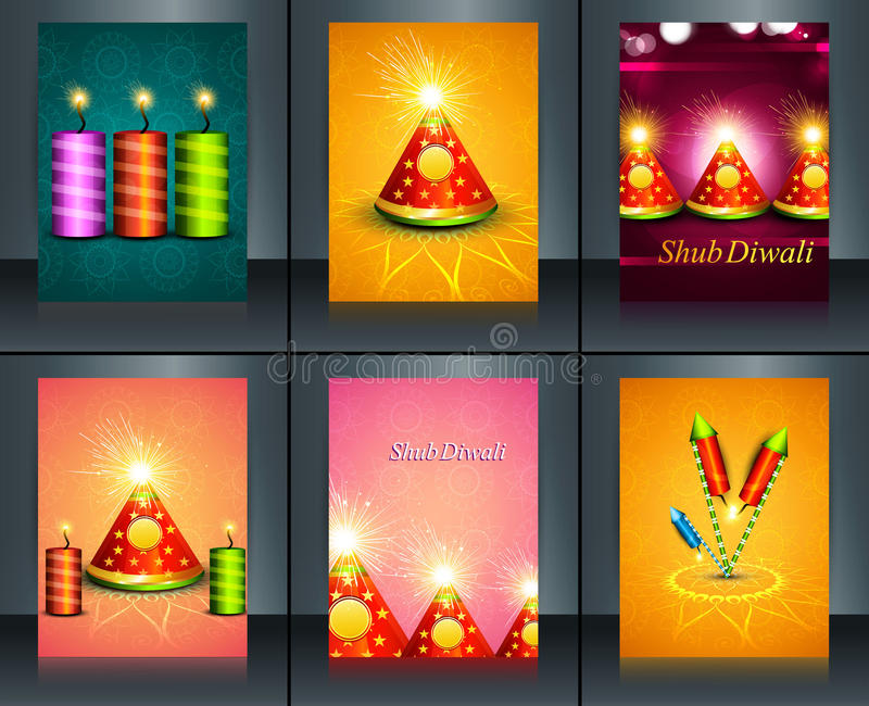 Όμορφες κροτίδες φεστιβάλ diya Diwali διακοσμήσεων ευτυχείς διανυσματική απεικόνιση