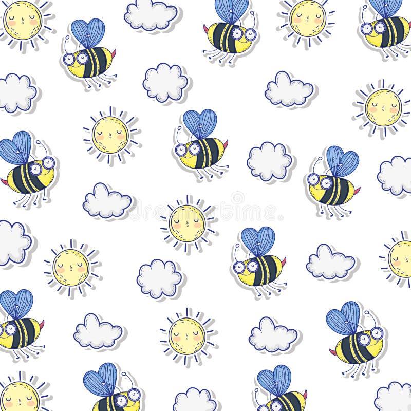Όμορφες μέλισσες που πετούν το σχέδιο διανυσματική απεικόνιση