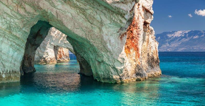 Μπλε σπηλιές, Zakinthos νησί, Ελλάδα στοκ φωτογραφία με δικαίωμα ελεύθερης χρήσης