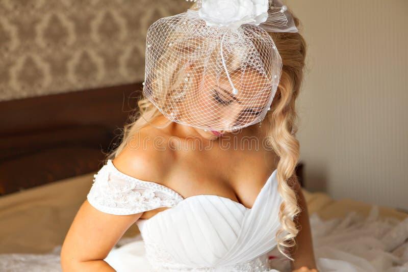 όμορφες νεολαίες γυναικών πορτρέτου το τρίχωμα αποτελεί το ύφ&omicr Η γαμήλια νύφη αποτελεί στοκ εικόνα