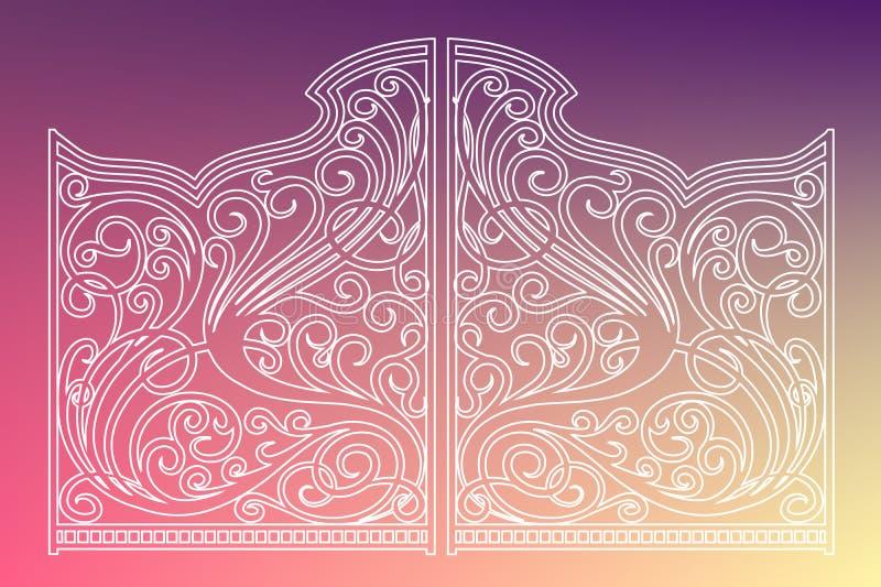 Όμορφες πύλες διακοσμήσεων σιδήρου διανυσματική απεικόνιση