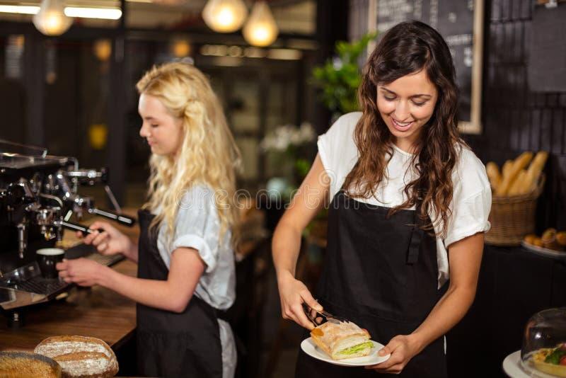 Όμορφες σερβιτόρες πίσω από την αντίθετη εργασία στοκ φωτογραφίες