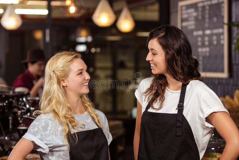 Όμορφες σερβιτόρες που θέτουν μπροστά από το μετρητή στοκ φωτογραφία