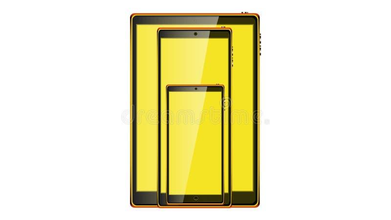 Όμορφες σύγχρονες ψηφιακές συσκευές, ρεαλιστικά μαύρα έξυπνα κινητά τηλέφωνα οθονών επαφής, smartphones και ταμπλέτα οθονών επαφή διανυσματική απεικόνιση