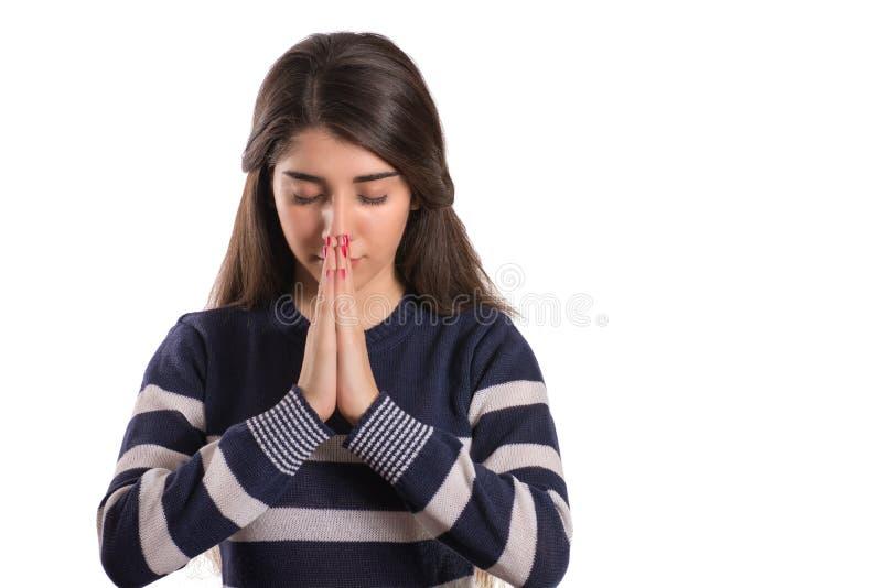 όμορφες υψηλές βασικές προσευμένος νεολαίες γυναικών στοκ εικόνες