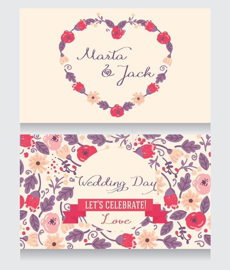 Όμορφες floral γαμήλιες προσκλήσεις διανυσματική απεικόνιση