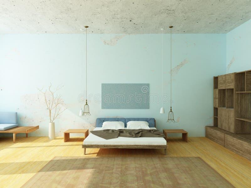 Όμορφη άνετη κρεβατοκάμαρα στα μπλε χρώματα ελεύθερη απεικόνιση δικαιώματος