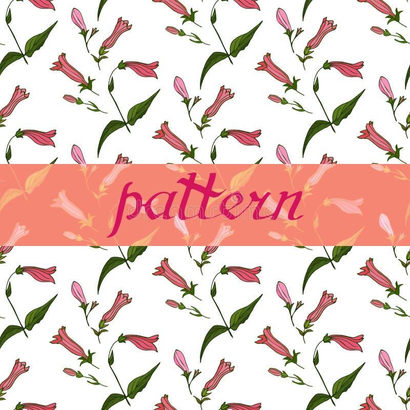 Όμορφη άνευ ραφής floral Floral διανυσματική απεικόνιση σχεδίων διανυσματική απεικόνιση
