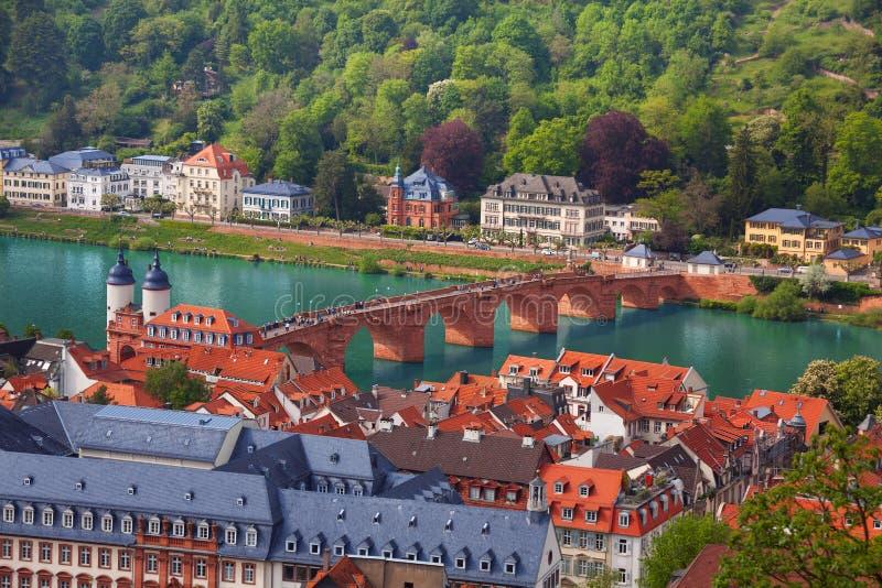 Όμορφη άποψη πανοράματος της Χαϋδελβέργης, Γερμανία στοκ φωτογραφίες
