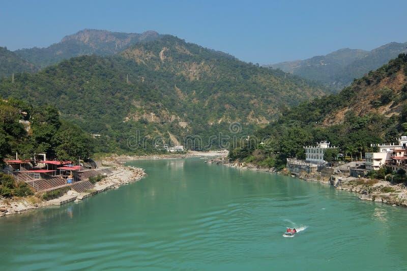 Όμορφη άποψη του ποταμού Ganga σε Rishikesh στοκ φωτογραφία με δικαίωμα ελεύθερης χρήσης
