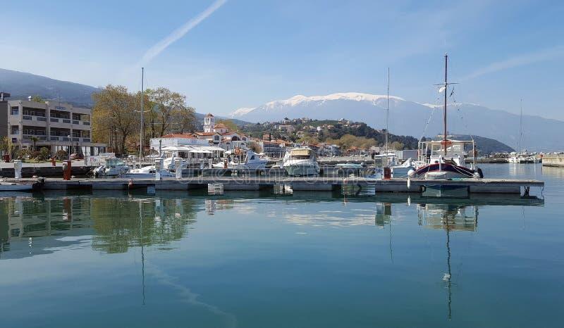 Όμορφη άποψη των βαρκών στο λιμάνι Platamonas, Ελλάδα στοκ φωτογραφίες με δικαίωμα ελεύθερης χρήσης